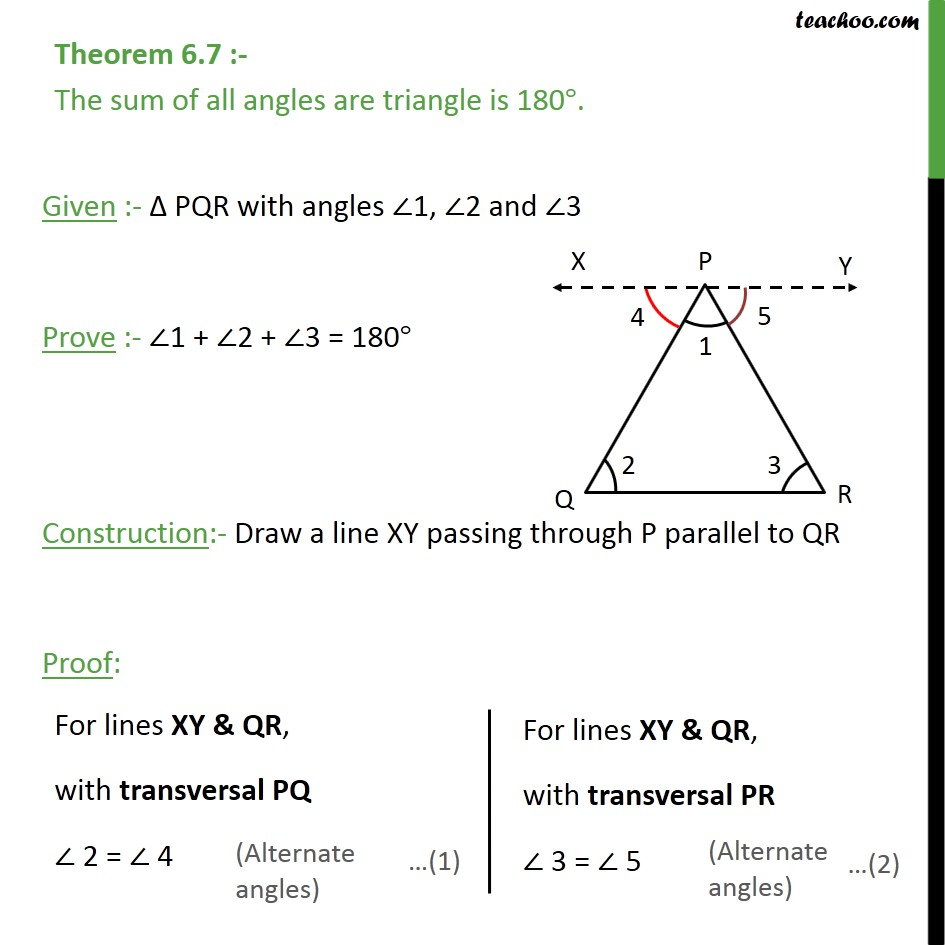 Theorem 6.7 - Class 9th - The sum of all angles are triangle is 180° - Theorems