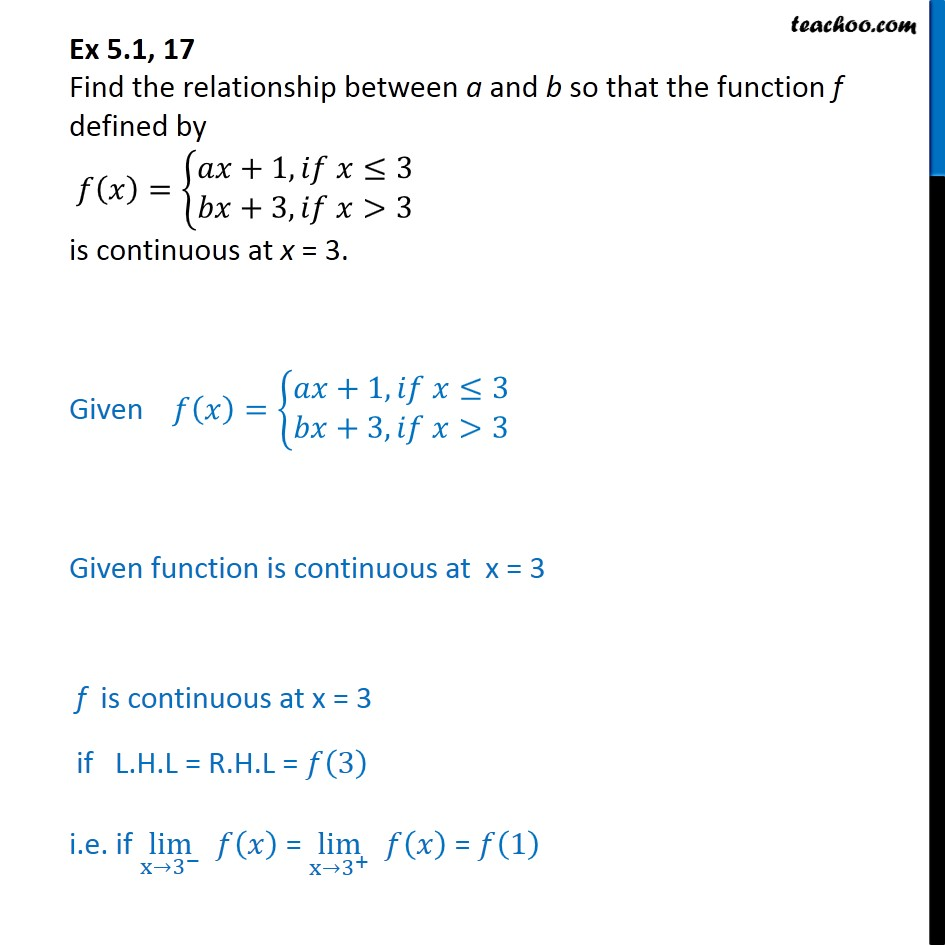 Ex 5.1, 17 - Find relationship a, b so that f(x) is continuous - Ex 5.1