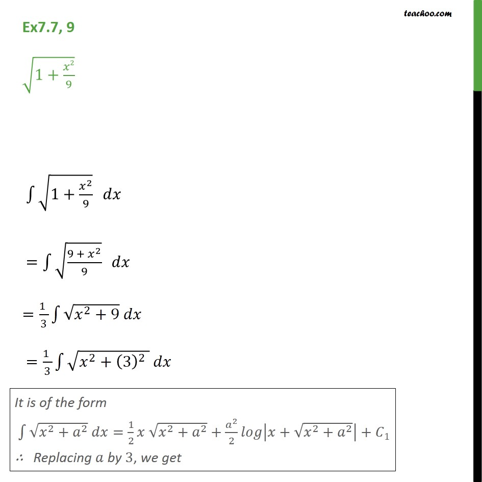 Ex 7.7, 9 - Integrate root 1 + x2 / 9 - Chapter 7 CBSE - Integration by specific formulaes - Formula 7