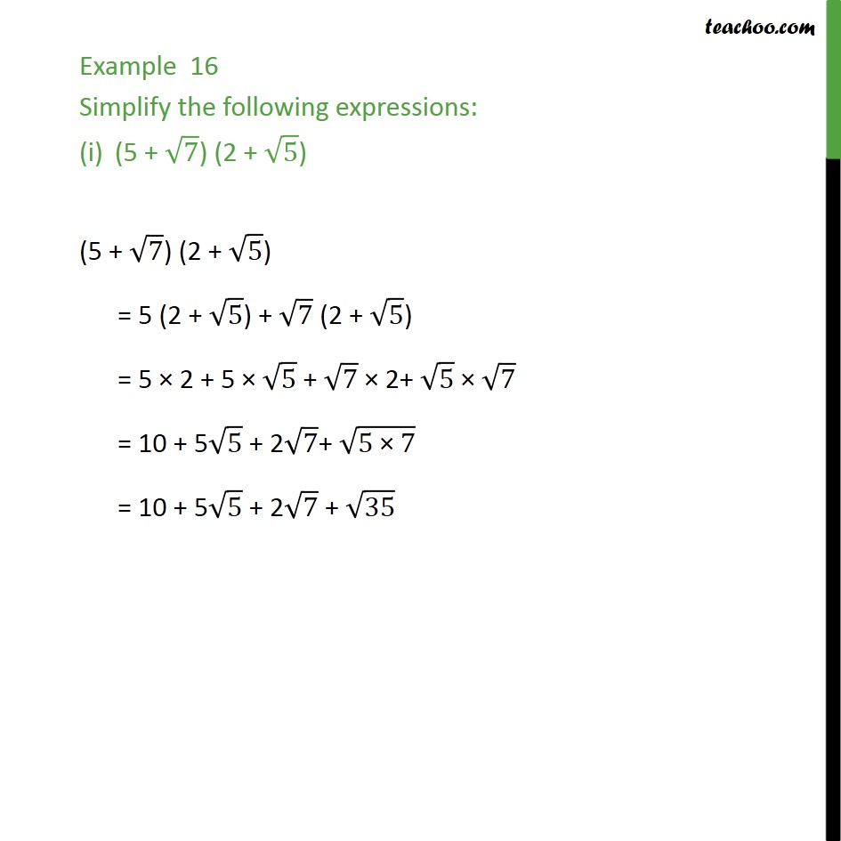 Example 16 - Simplify the following expressions: - Class 9 - Simplifying real numbers