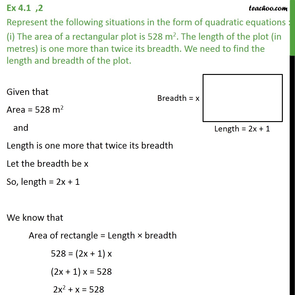 Ex 4.1, 2 - Represent in form of quadratic equations - Making quadratic equation