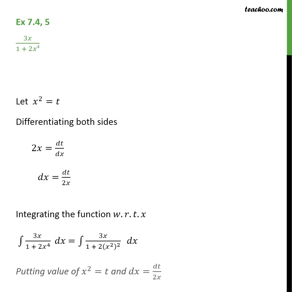 Ex 7.4, 5 - Integrate 3x / 1 + 2x4 - Chapter 7 Class 12 - Integration by specific formulaes - Formula 3