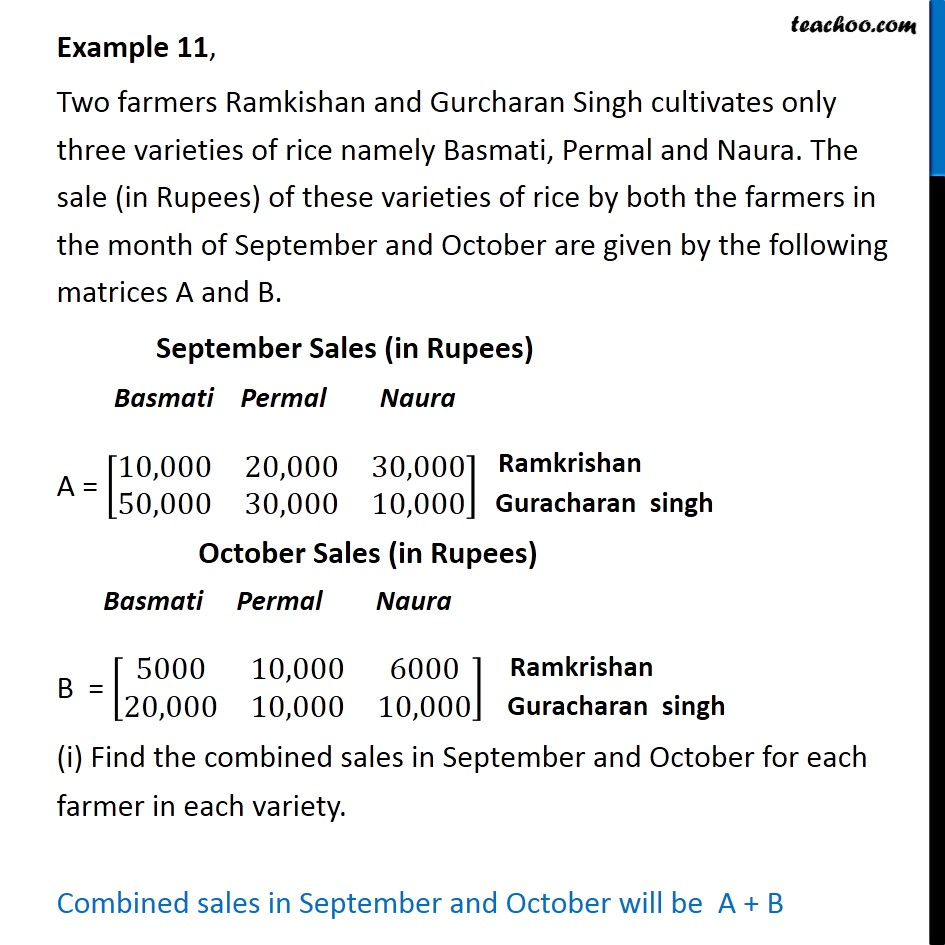Example 11 - Two farmers Ramkishan and Gurcharan Singh cultivates - Statement questions - Addition/Subtraction  of matrices