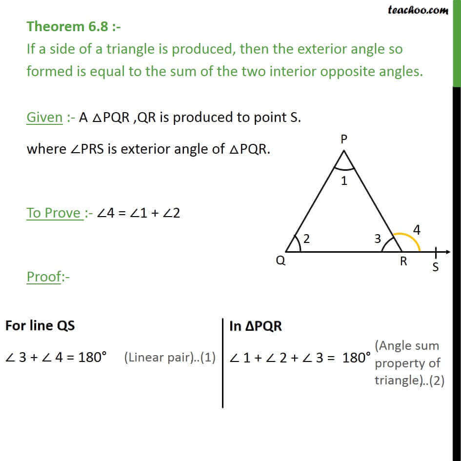 Theorem 6 8 exterior angle is equal to sum interior - Sum of the exterior angles of a triangle ...