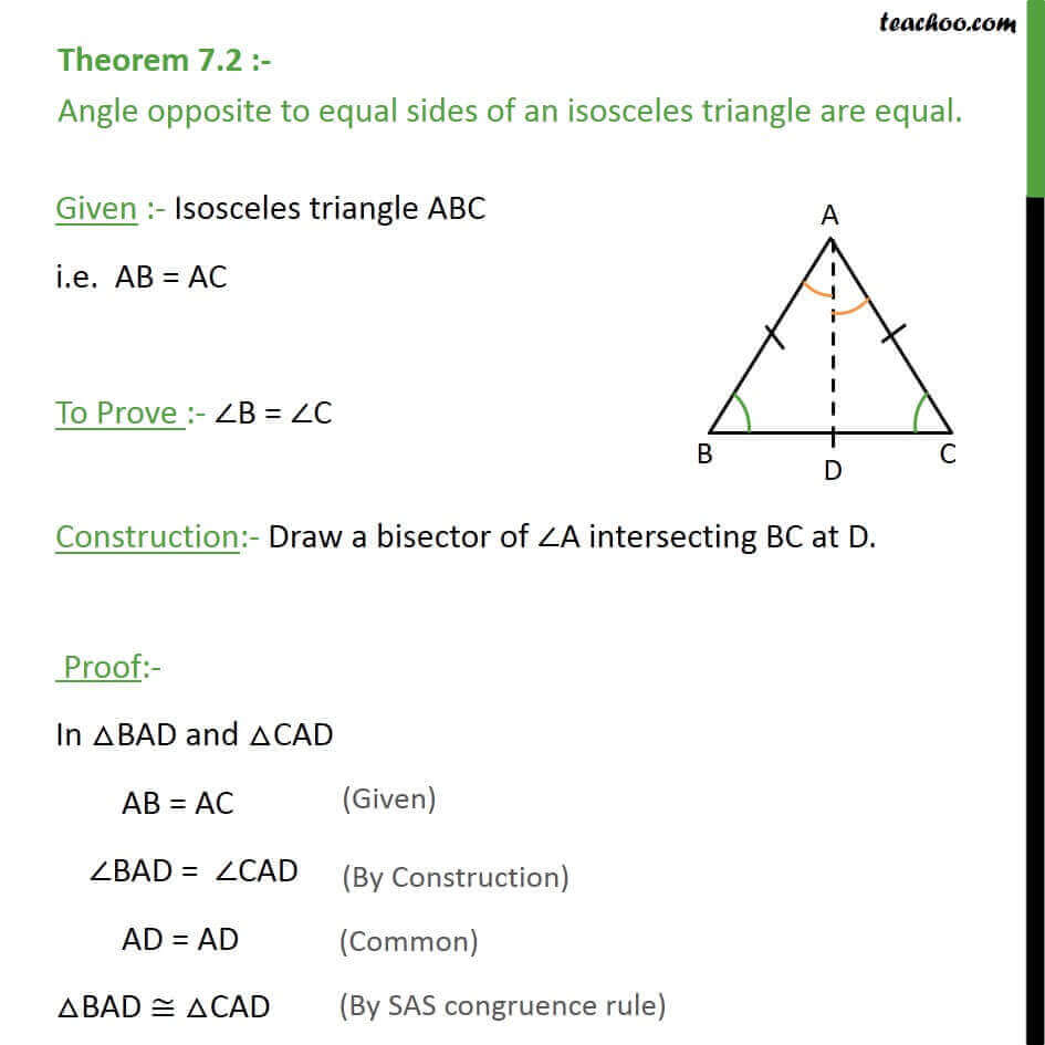 Theorem 7 2 angle opposite to equal sides of a triangle are equal for Exterior angle property of a triangle proof