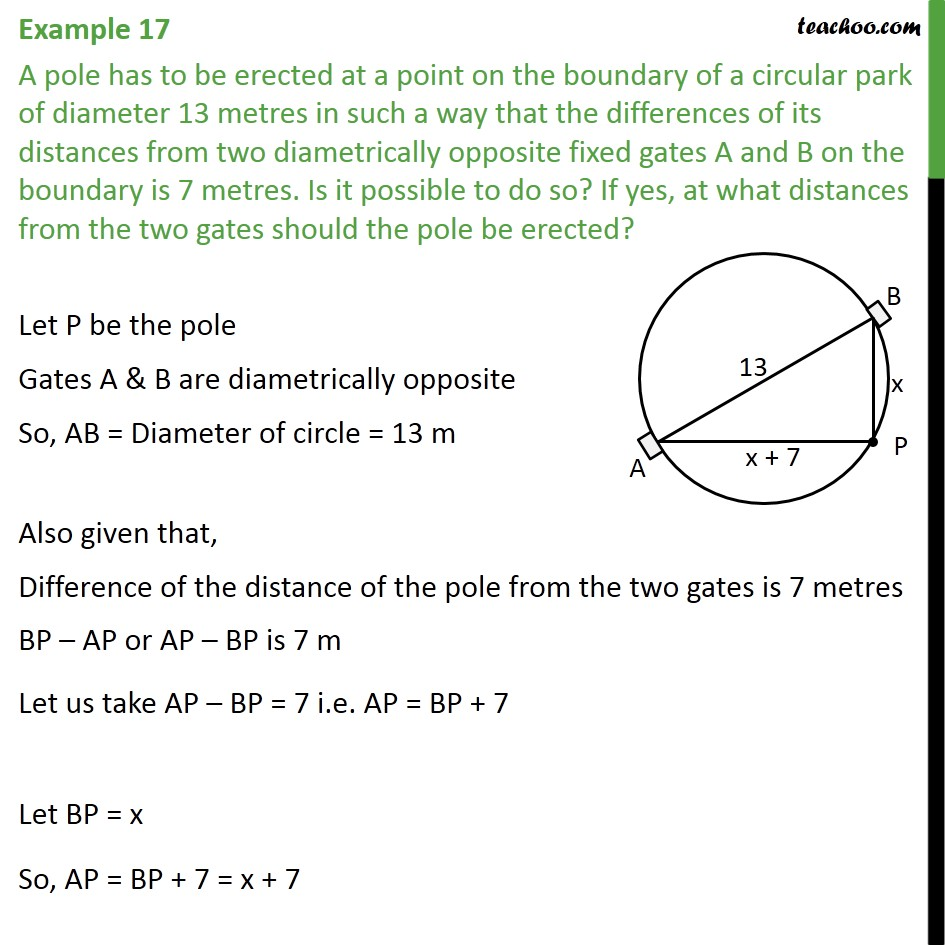 Example 17 - A pole has to be erected at a point on - Solving by quadratic formula - Equation to be formed