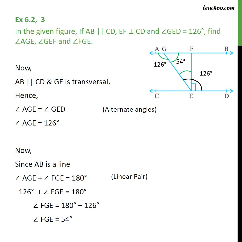 Ex 6.2, 3 - In figure, if AB || CD, EF ⊥ CD and ∠GED = 126° - Parallel lines and traversal - Problems