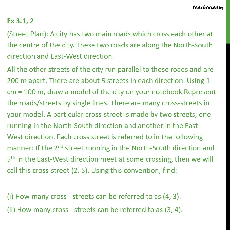 Ex 3.1, 2 (Street Plan): A city has two main roads which - Activities