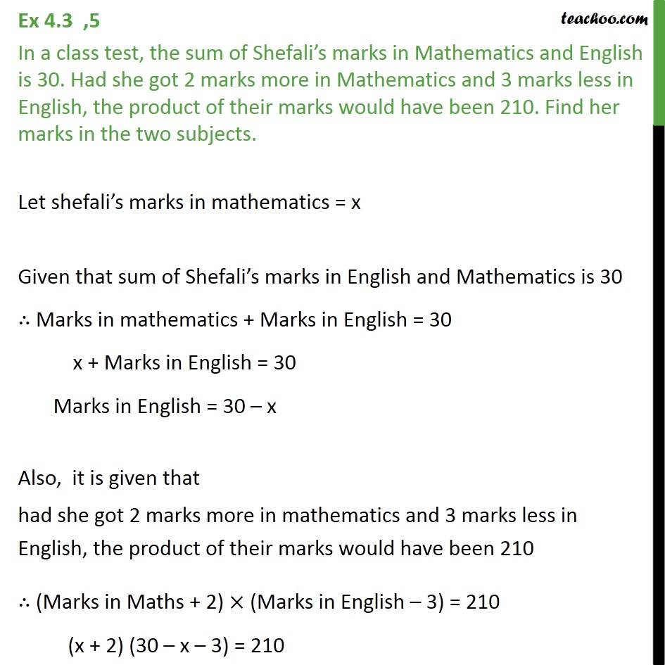 Ex 4.3, 5 - In a class test, sum of Shefali marks in maths - Ex 4.3