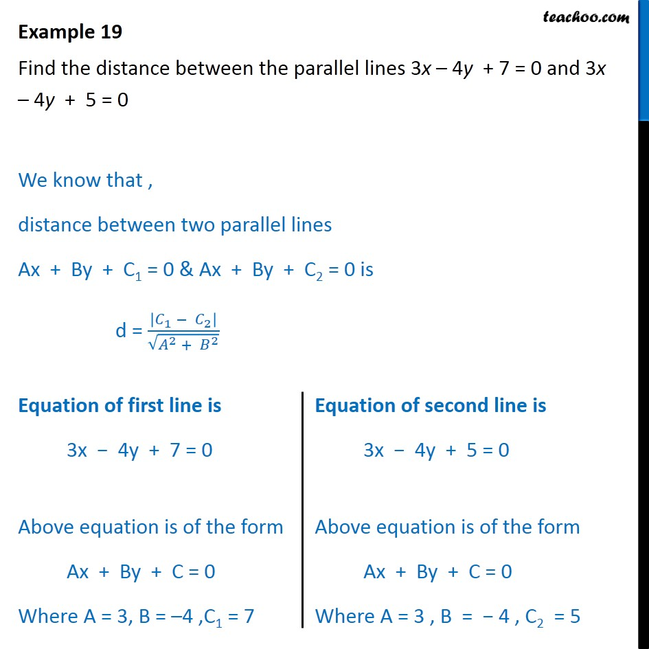 Example 19 - Find distance between parallel lines 3x-4y+7=0 - Examples