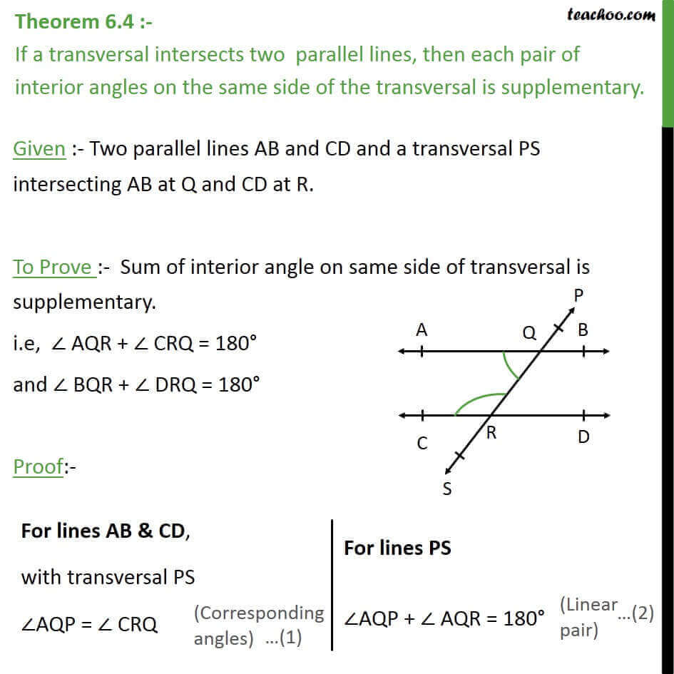 Same Side Interior Angles Are Supplementary Proof