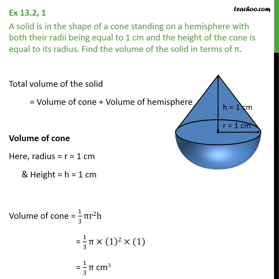 Ex 13.2, 1 - A solid is in shape of a cone on a hemisphere - Volume - Added