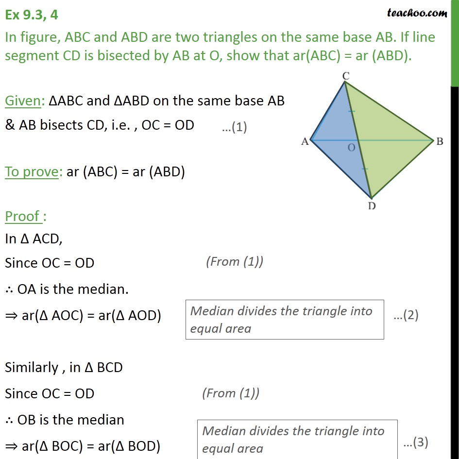 Ex 9.3, 4 - In figure, ABC and ABD are two triangles - Median divides triangle into two triangles of equal area