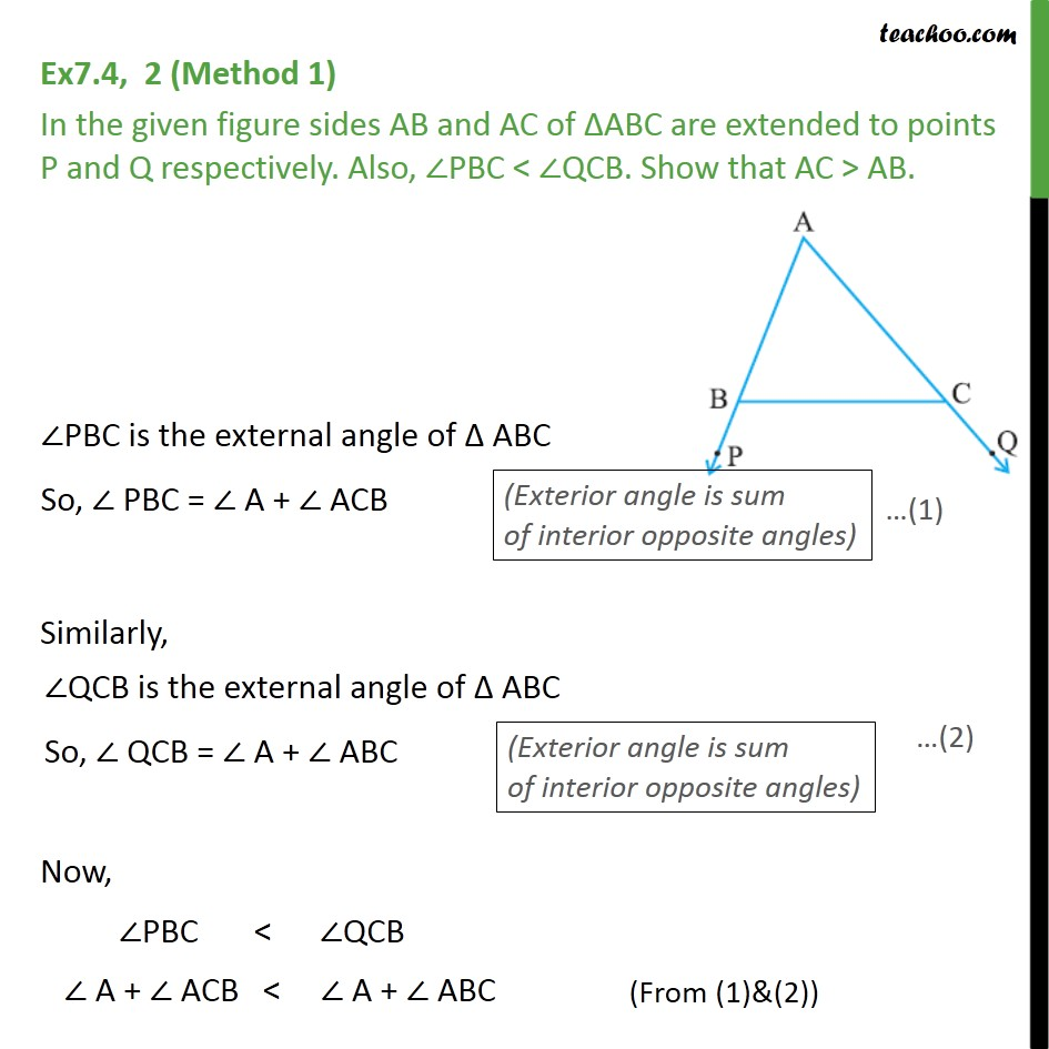 Ex 7.4, 2 - Sides AB & AC of ABC are extended to points P, Q - Side inequality