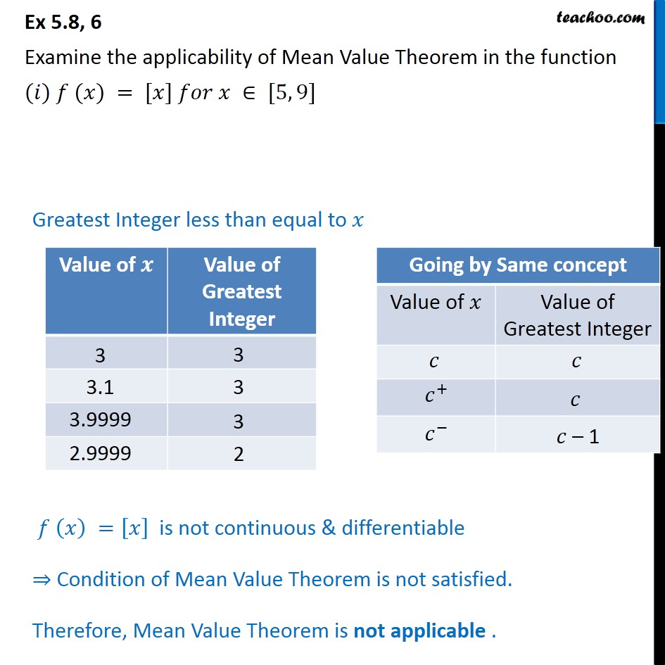 Ex 5.8, 6 - Examine the applicability of Mean Value Theorem - Ex 5.8
