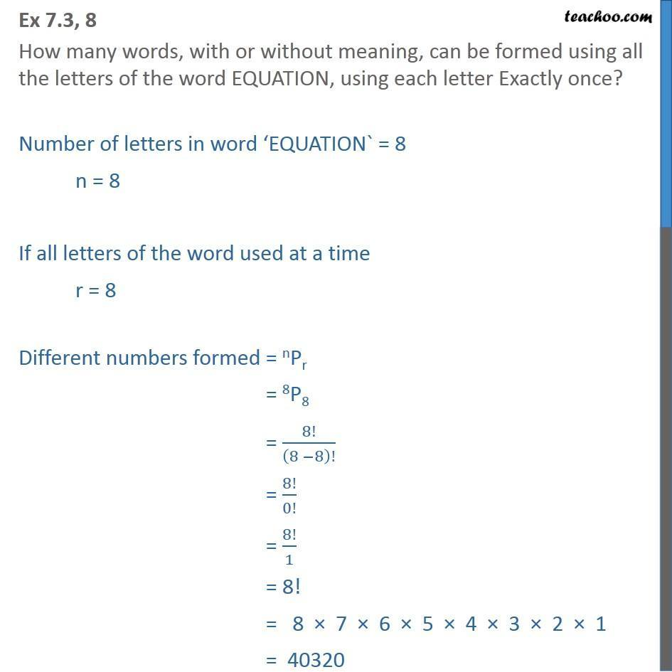 Ex 7.3, 8 - How many words can be formed using EQUATION - Permutation- non repeating