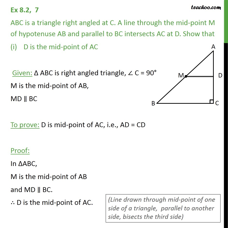 Ex 8.2, 7 - ABC is a triangle right angled at C. A line - Ex 8.2