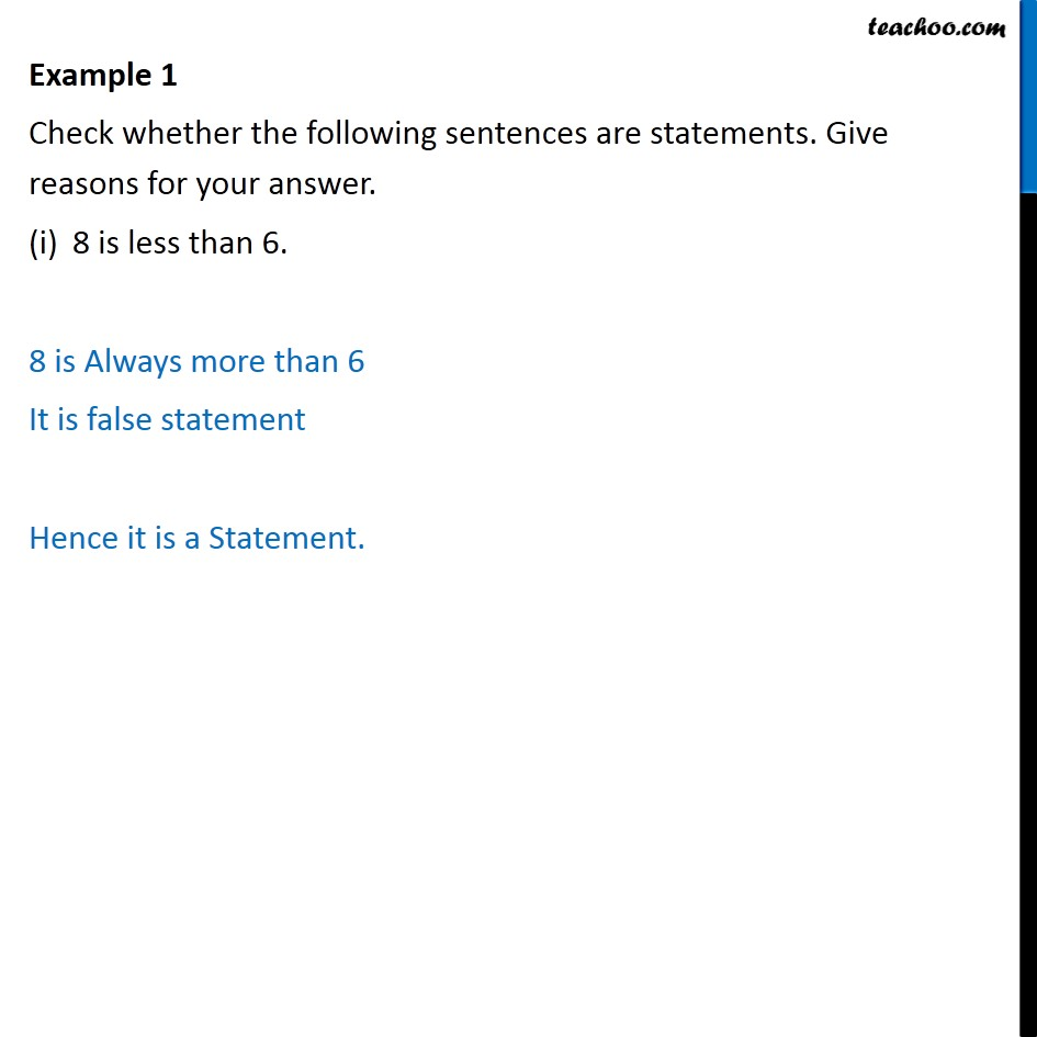 example 1 - check whether sentences are statements