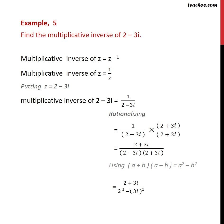 example 5 - find multiplicative inverse of 2 - 3i