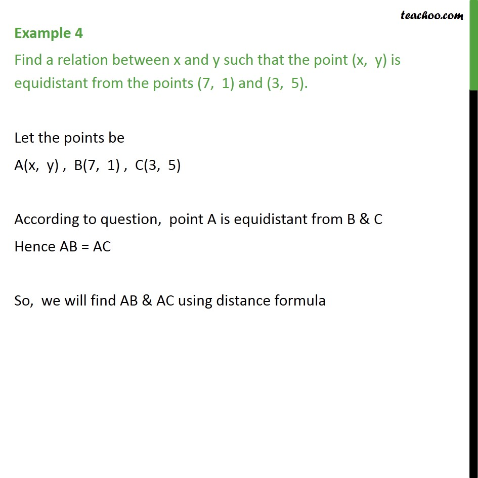 Example 4 - Find a relation between x and y such that - Examples