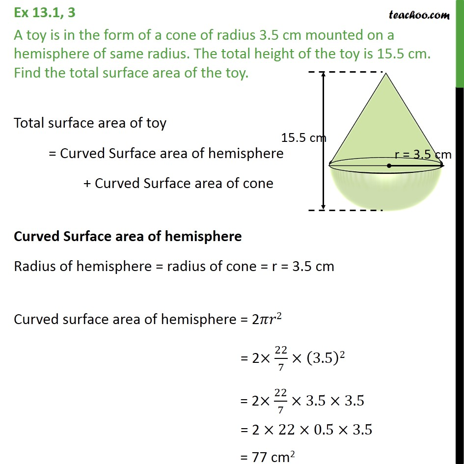 Cone In Real Life: A Toy Is In Form Of A Cone Of Radius 3.5 Cm