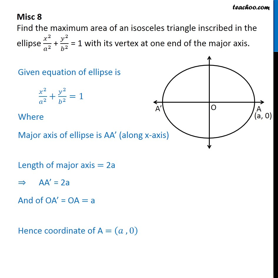 Misc 8 - Find maximum area of an isosceles triangle inscribed - Miscellaneous