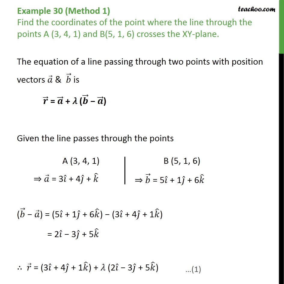 Example 30 - Find point where line crosses the XY-plane - Point with Lines and Planes