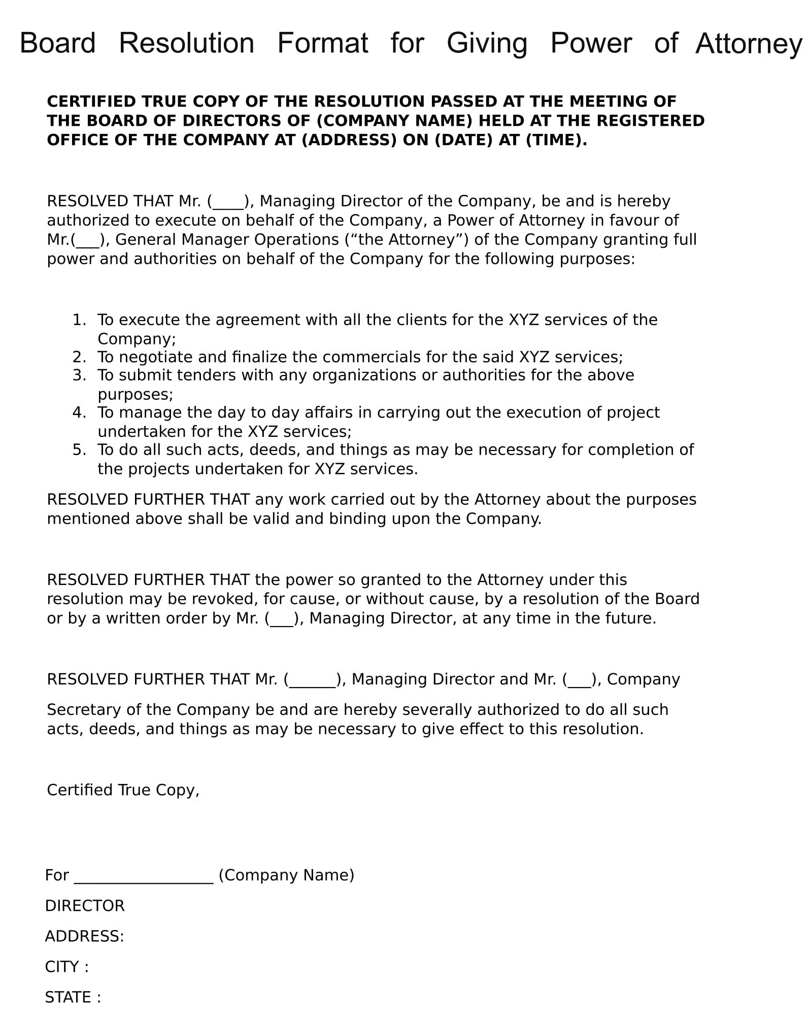 board resolution template singapore - board resolution format for giving power of attorney