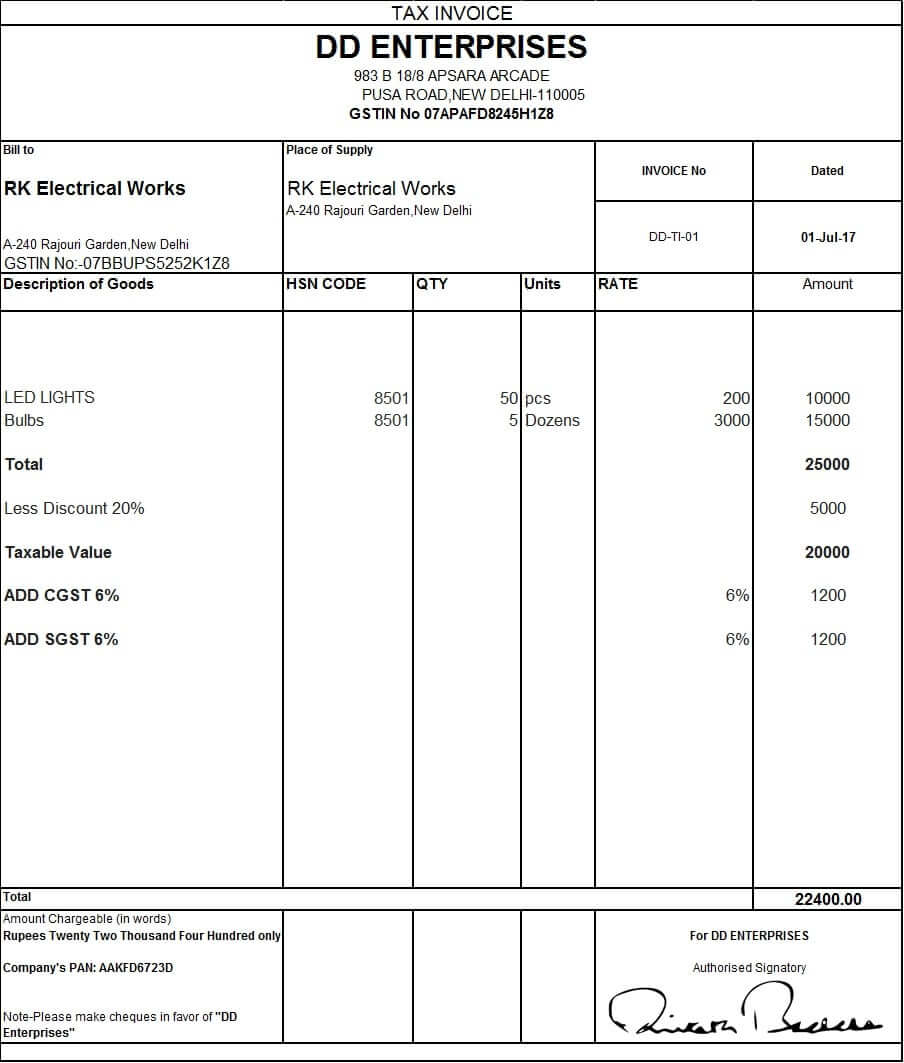 4 Tax Invoice On Goods Local Gst  Tax Invoice Template Excel