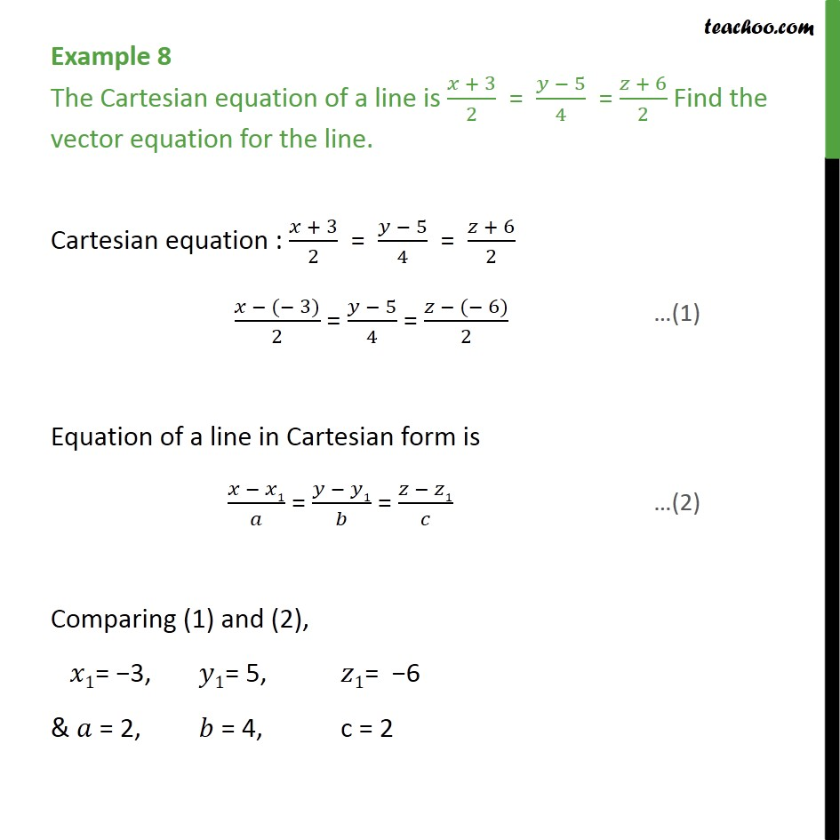 Example 8 - The Cartesian equation of a line is. Find vector - Equation of line  - given point and //vector