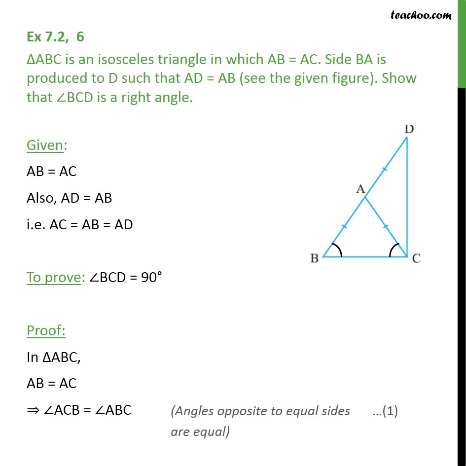 Ex 7.2, 6 - ABC is an isosceles triangle in which AB = AC - Opposite Angles of equal sides