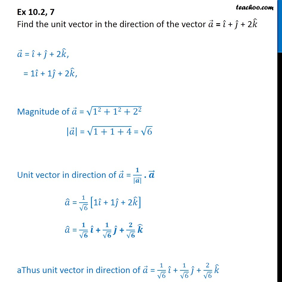 Ex 10.2, 7 - Find unit vector in direction of a = i + j + 2k - Ex 10.2
