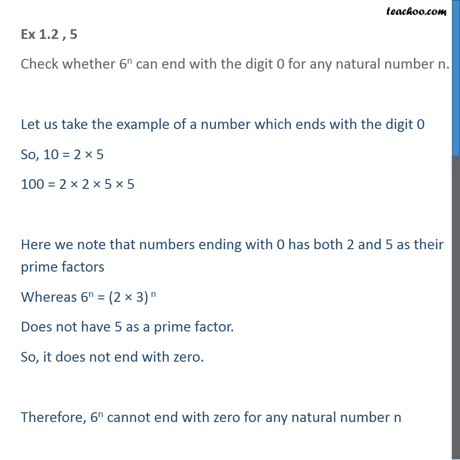 Ex 1.2, 5 - Check whether 6n can end with digit 0 - Prime Factorization
