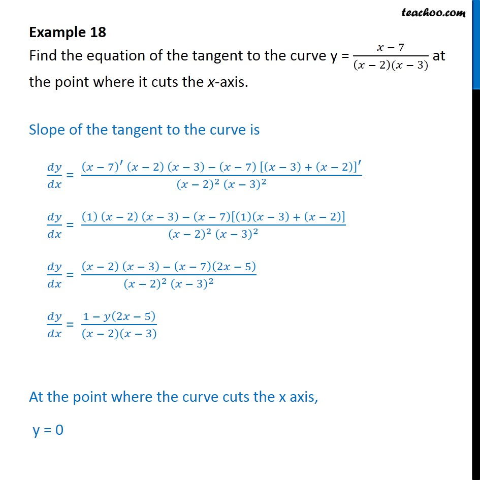 Example 18 - Find equation of tangent at point where it cuts - Examples