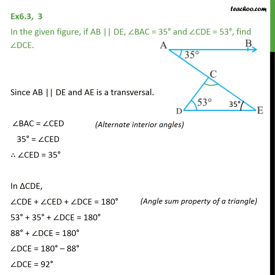 Ex 6.3, 3 - In figure, if AB || DE, ∠BAC = 35° & ∠CDE = 53° - Triangle - Problems