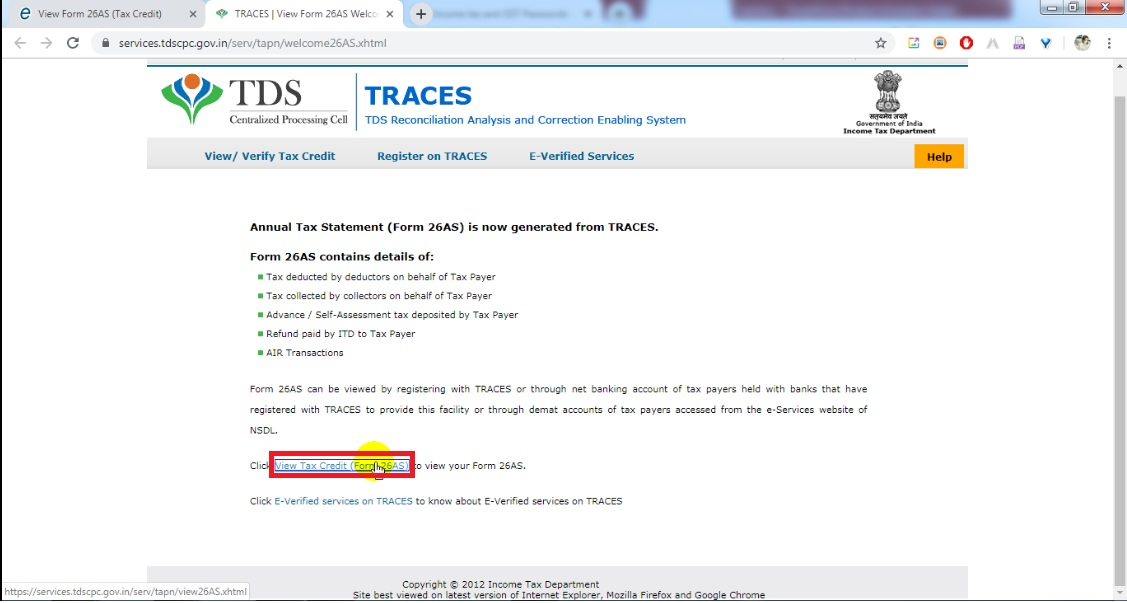 How to check TDS deducted Form 26AS - Registration, Challan