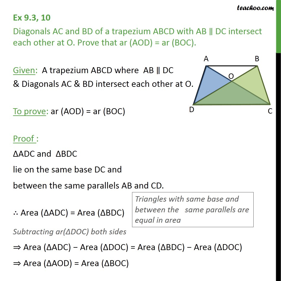 Ex 9.3, 10 - Diagonals AC and BD of a trapezium ABCD - Ex 9.3